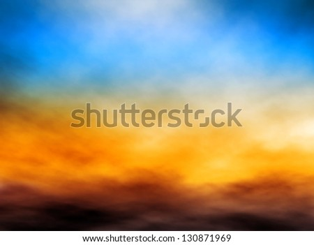 Illustration of bank of clouds in a sunset sky
