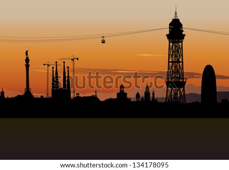 Illustration of Barcelona skyline silhouette with sunset sky
