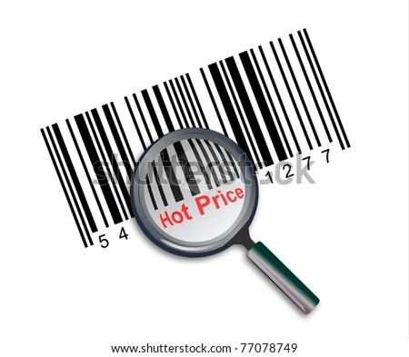 Illustration of barcode with hot price text, with magnify glass