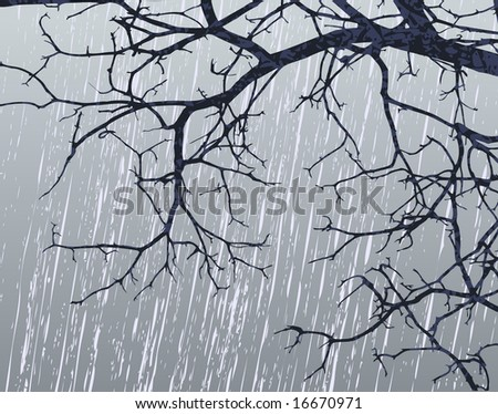 Illustration of bare branches in winter weather