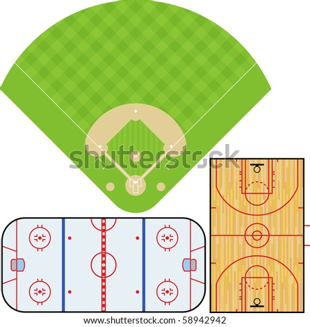 Illustration of Baseball field, Basketball court, and Ice Hockey rink. Accurately proportioned.