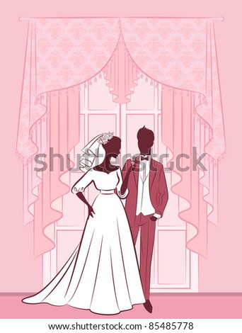 Illustration of beautiful bride and groom