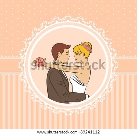 Illustration of beautiful bride and groom