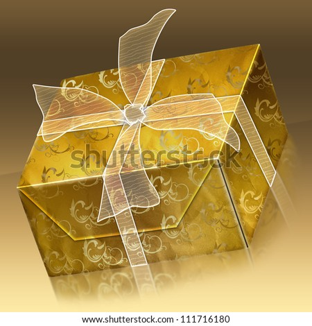Illustration of beautiful gift box with ribbon - stock photo