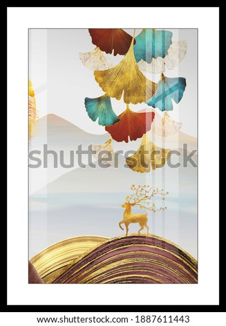 Illustration of beautiful reindeer forest view decorative pattern background 3d wallpaper. Graphical pattern modern artwork
