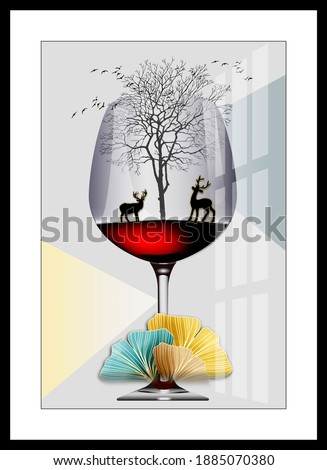 Illustration of beautiful reindeer forest view wine glass decorative pattern background 3d wallpaper. Graphical pattern modern artwork