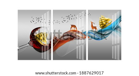 Illustration of beautiful ship and deer inside wine glass decorative pattern background 3d wallpaper. Graphical pattern modern artwork