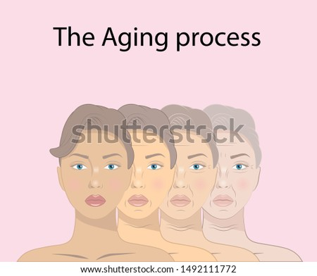illustration of beauty concept skin aging and anti-aging process