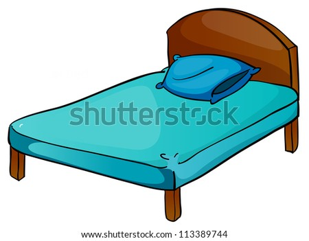 illustration of bed and pillow on a white background - stock photo
