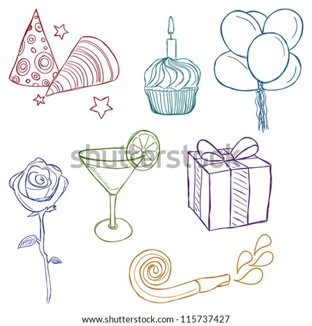 Illustration of birthday or party icons - sketch style