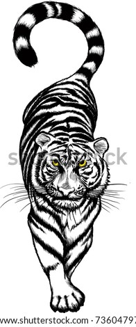 illustration of black and white Crouching Tiger with yellow eyes. Raster version