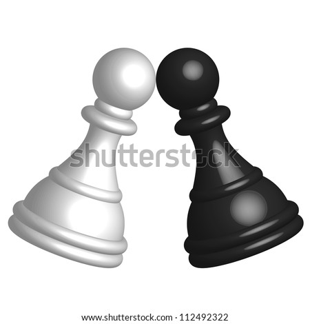 illustration of black and white pawn