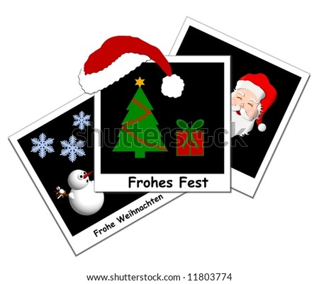 illustration of 3 black christmas instant photos - stock photo