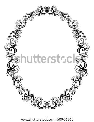 Illustration of black floral frame over white background