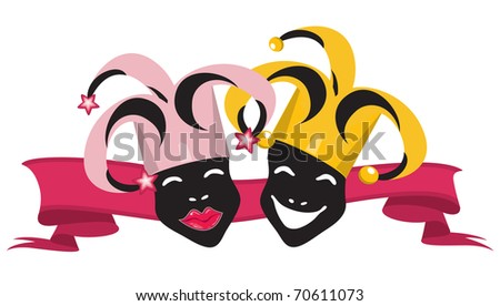 Illustration of black joker faces, red ribbon on white