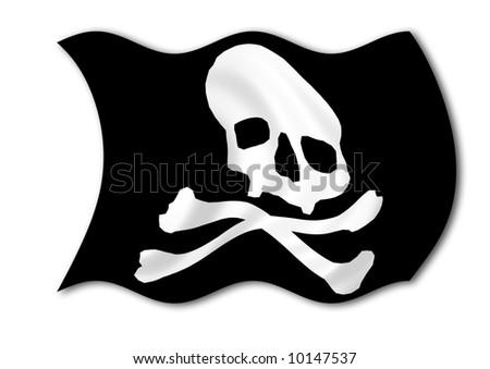 illustration of black pirate flag with skull