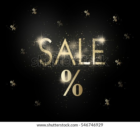 Illustration of black sale background with golden shining text sale #546746929