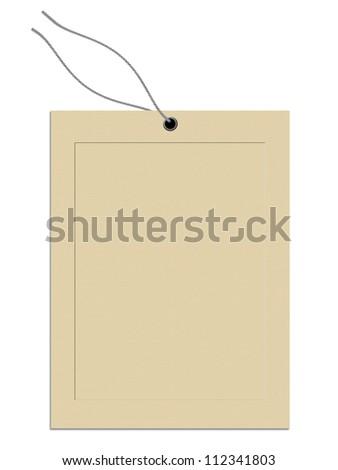 Illustration of blank cardboard tag isolated