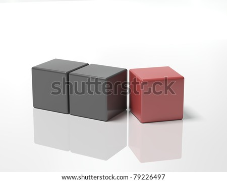 illustration of block of black cubs with final red one about to fit on corner ,isolated on white background