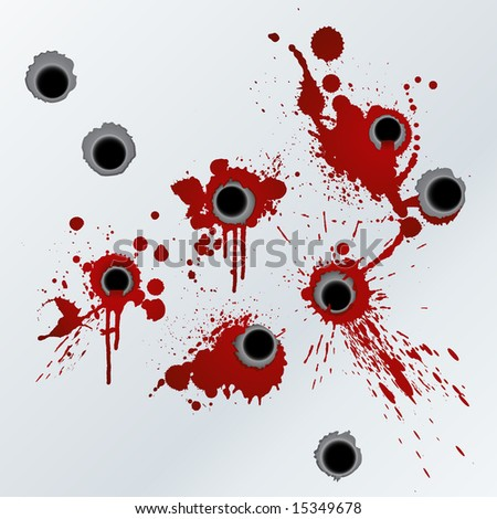 Illustration of bloody gunshots with blood splatters on the wall.