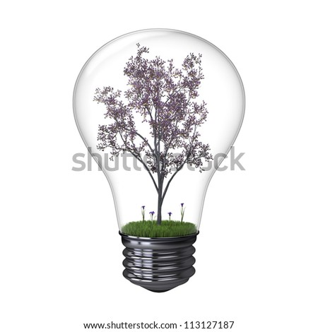 Illustration of blooming tree inside lightbulb isolated on white background, concept of energy saving and environmental protection