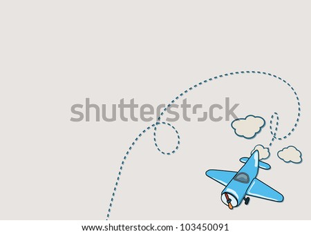 Illustration of blue airplane with beige clouds