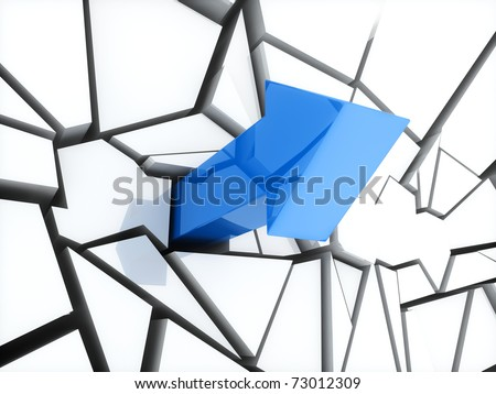 Illustration of blue arrow and broken white wall
