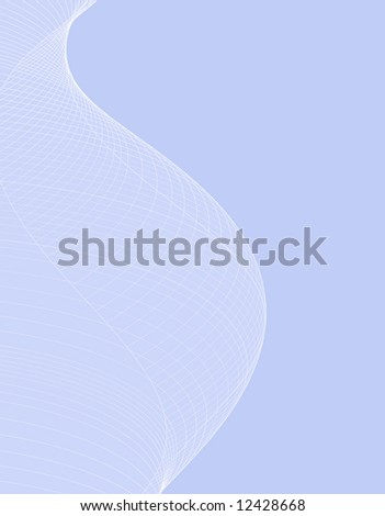 Illustration of blue background with white curves, design. Versatile background for a variety of projects