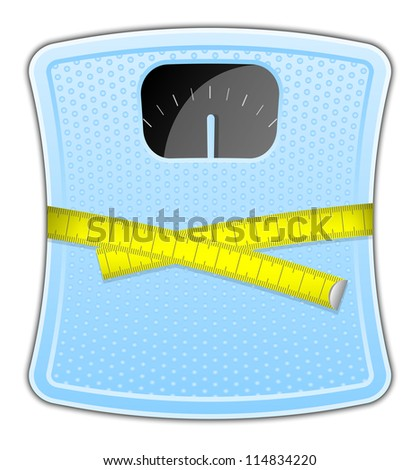 Illustration of blue bathroom scale with measuring tape