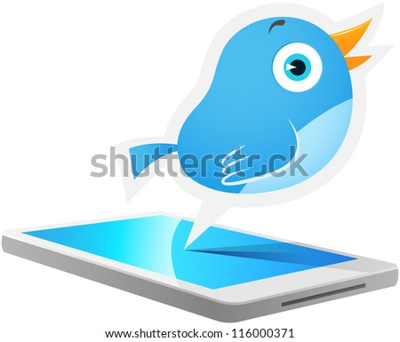 Illustration of Blue Bird talking out from Cellular phone