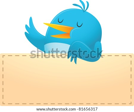 Illustration of Blue Bird with blank banner