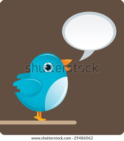 illustration of blue bird with brown background - stock photo