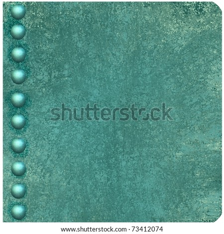 illustration of blue book cover, old antique blue background color, grunge texture, button or pearl accents on edge of binding, rounded corners, and copy space to add title, text, image, or ad