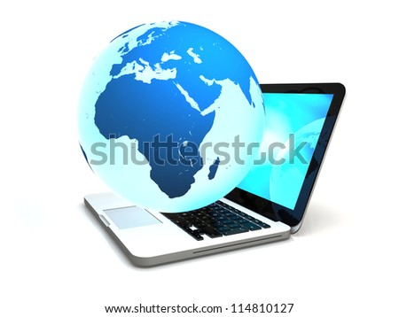 Illustration of blue Earth floating above laptop computer, concept of world wide web and portability, isolated on white background. Elements of this image furnished by NASA