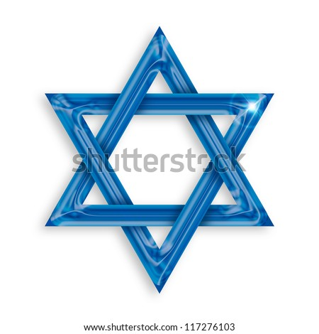 Illustration of blue hexagram on white background