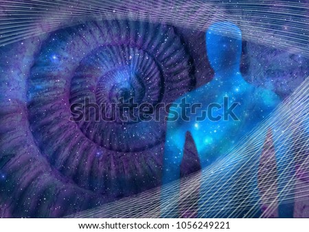 Illustration of boundless possibilities of human consciousness. Abstract design made of human siluette, fractal grids and Fibonacci spiral as a background. Element of sacral geometry.