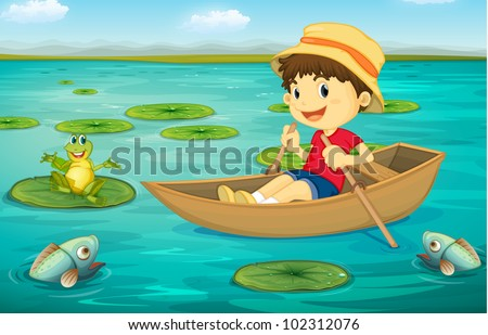 Illustration of boy in boat in a lake with animal characters - EPS VECTOR format also available in my portfolio.