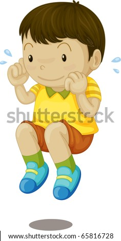 Illustration of boy jumping on a white background - stock photo