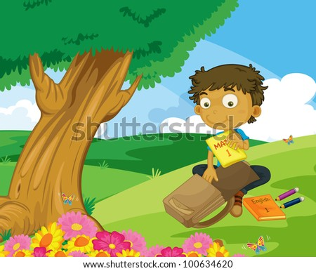 Illustration of boy packing in the park - EPS VECTOR format also available in my portfolio.