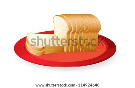 illustration of bread slices in red dish on white - stock photo