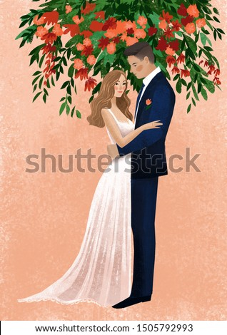 illustration of bride and groom on weding day