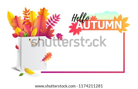 illustration of bright bouquet of autumn fallen leaves in gift paper shopping bag with gold ribbon. Isolated on transparent background. Luxury, festive carton package. Mock up for your design #1174211281