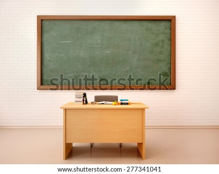 Illustration of bright empty classroom with blackboard and table.