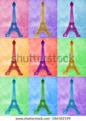 Illustration of bright high-heel Eiffel Tower on colourful tiled