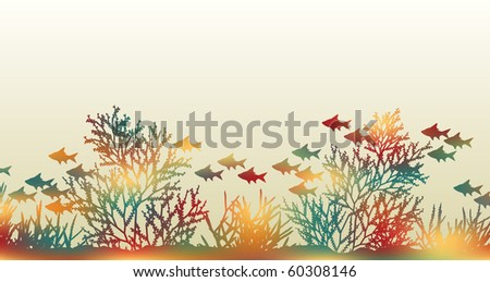 Illustration of brightly colored coral and fish