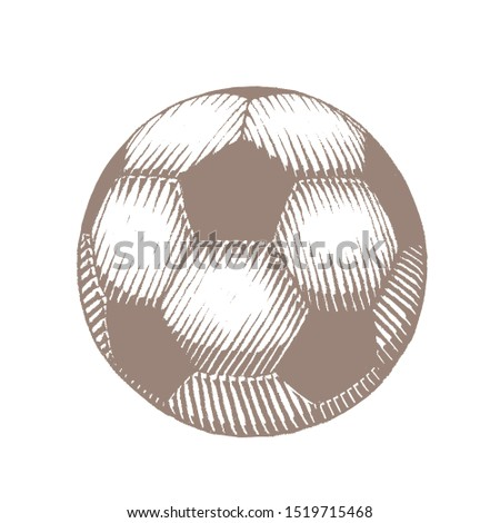 Illustration of Brown Ink Sketch of Soccer Ball isolated on a White Background