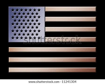 Illustration of brushed metal effect American flag