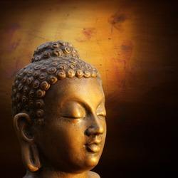 illustration of Buddha golden sculpture on lightened gold background