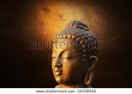 illustration of Buddha golden sculpture on lightened gold background