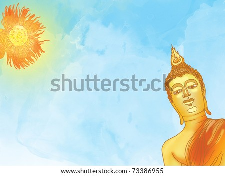 Illustration of buddha statue against a blue sky and sun